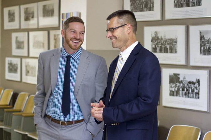 Justin King (left), new high school principal, with Paul Leaman, head of school.