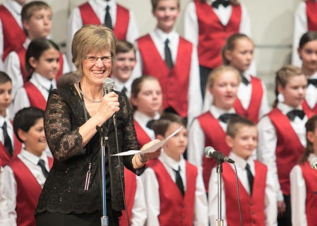 Janet beams after a program with the Shenandoah Valley Children's Choir at Eastern Mennonite University where she was named artistic director in 2014.