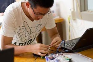 Mike Mi '19 in Robotics II class at EMS.