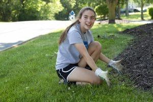 Yard work at Valley Brethren Mennonite Heritage Center.