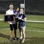 Andrew, Erika and Forrest Gascho with girls varsity state championship plaque, 2015