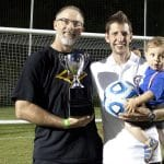 Kendal Bauman, Andrew Gascho and Forrest celebrate girls varsity soccer state championship, 2015
