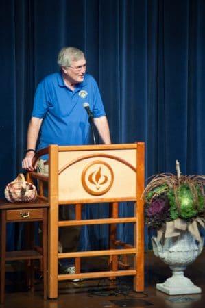 Jay Hartzler and podium