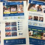 Print outs of design options for the website during development.