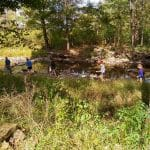 Environmental sustainability students and chemistry students on field trip to study the North Fork in Bergton, Va.