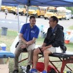Justin King and EMS athletic trainer, Neil Coverstone of Drayer Physical Therapy (formerly Advantage).