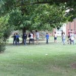 Students cross from the school into Park Woods for Spiritual Renewal Week on Sabbath practices