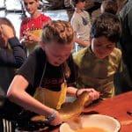 Sixth graders at fish hatchery