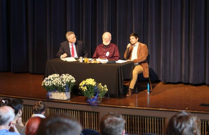 Elwood Yoder, Earl Martin, Caleb Schrock-Hurst at the public Kennel Charles Lecture. EMS photo.