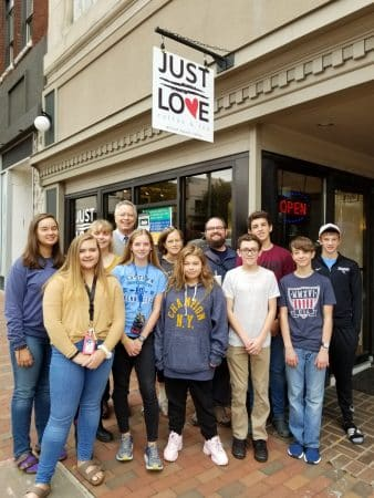 Bible 9 class visited the local coffee shop that students chose to support with their annual Spirit Week fundraiser.