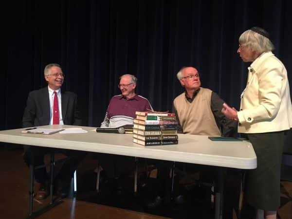 Chapel panel featuring, left to right, Elwood Yoder (moderator), James Rush, Leo Heatwole, Lois Bowman Kreider, 2019