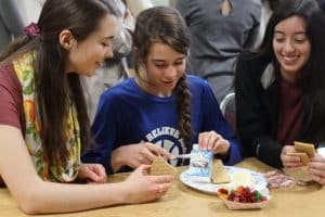Bigs and Littles, annual gingerbread house making, fall 2019