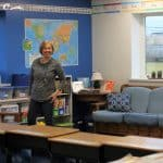 Susan Stoltzfus putting final touches on her second grade room
