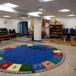 Music room. EMES first day in new building