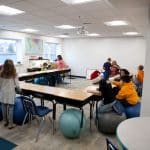 EMES first day in new building. Fourth grade room