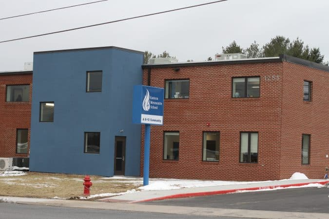 Exterior of Eastern Mennonite Elementary building, January 2020