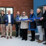 From left to right, Mike Stoltzfus, director of business affairs; Wayne Witmer, Harman Construction; Jeff Shank, EMS board chair; Charles Hendricks, Gains Group Architects; Marlowe Nichols, class of '27; Maria Archer, k-8 principal; Teresa Anders, EMS board of trustees and chair of advancement committee; Frank Oncken, Chamber of Commerce; Paul Leaman, head of school