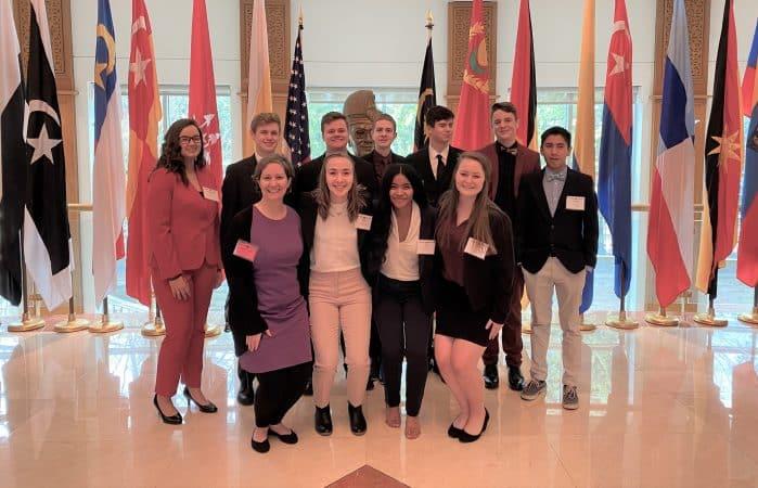 Model UN participants 2020 with sponsor Shannon Roth, front left