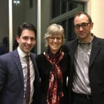 Paul Smith of VOCES8 Foundation and guest conductor; Janet Hostetter, artistic and creative director of Shenandoah Valley Children's Choir; and Jared Stutzman, Eastern Mennonite School choral director.