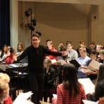 Paul Smith,  author of the Voces8 Method, leads a workshop with EMS choirs, February 2020