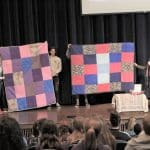 During chapel, students learned about Mennonite Central Committee, comforter sharing around the world, and the people who make comforters.