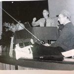 Beloved colleague Tim Brenneman helps Elwood Yoder make a point in chapel, 2010