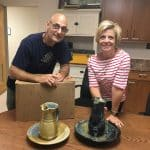 Herb Weaver delivers alumni award gifts in spring 2018 to Mary Kaye Slonaker, advancement staff