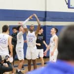Celebrating a victory with the home fans, boys basketball 2020