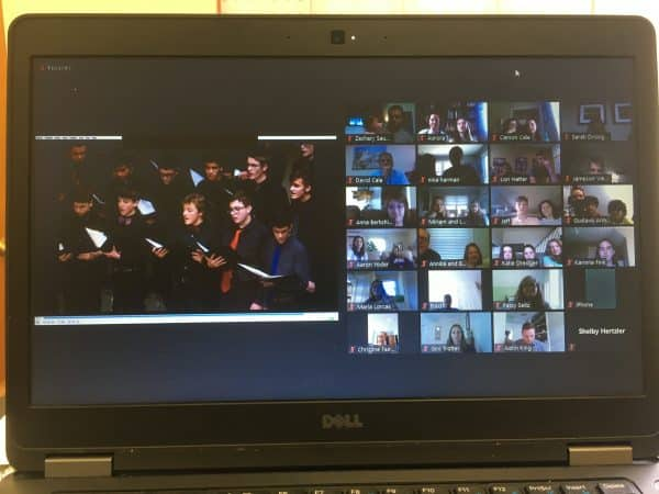Eighth grade Zoom celebration included watching a slideshow of images from their years at EMS