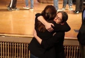 Jodi Hertzler, drama coordinator, celebrating with a cast member, Little Women