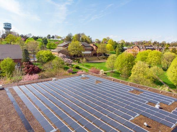 Eastern Mennonite University's solar array atop Hartzler Library