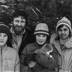 Eric, Keith, Brendan and Ellen Helmuth at their North Hill Farm homestead, Speerville, New Brunswick, Canada, 1979.