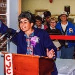 Ellen Helmuth, Manager of the Woodstock Farm Market Cooperative, at the grand opening of the new Farm Market building, 1991.