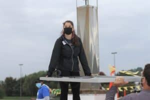 Malea Gascho, EMS art teacher at the solar barn raising