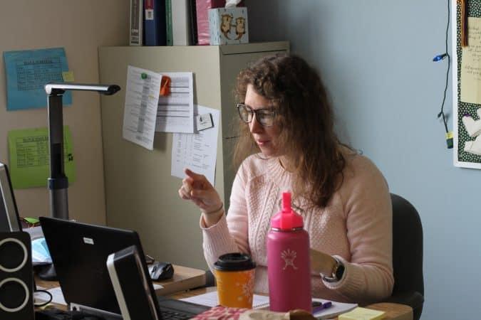 Lizzy Miller teaching a high school math class from her classroom.