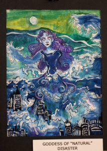 Claire Parsley, 11, Goddess of Natural Disaster, Mixed Media