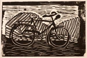 Ezra Miller, 11, a bike, linocut print