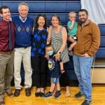 Elwood's family joined him for a recognition on May 3, 2021 at the school. From left to right, Philip '10, Elwood, Joy, daughter Maria '06 and son-in-law Aaron Billings, and two beloved grandchildren (future Flames!). Unable to attend, son, Nathaniel '04 lives in Kansas with his wife Maggie and children.