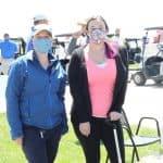 Trisha Blosser, EMS development officer, with Kelsey Miller '05, alumni board and golf tournament committee member.