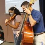 Strings teacher, Maria Lorcas, and band teacher, Nick Gardner.
