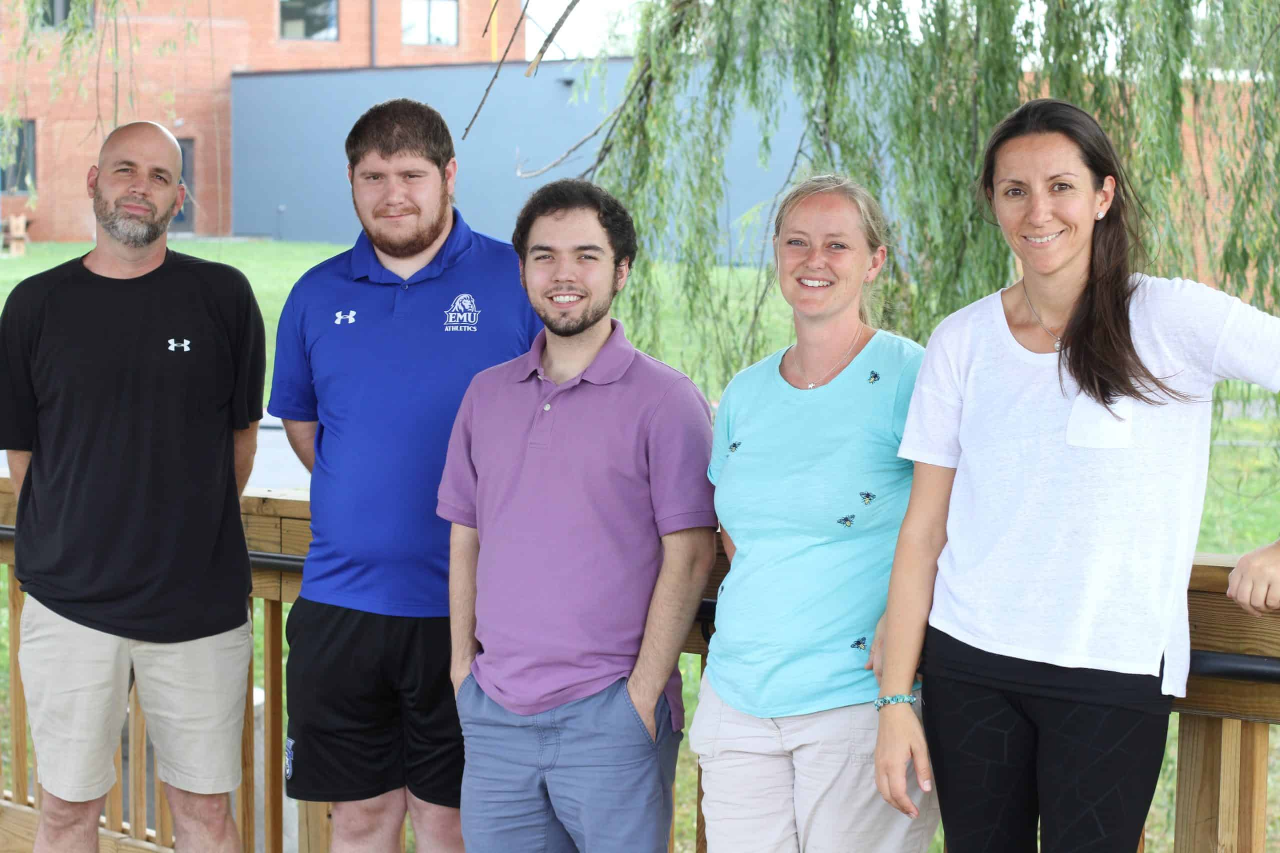 New employees for fall 2021, left to right: Benjamin Bixler (Bible and humanities), Matthew Overacker (physical education), Lucas Wenger (mathematics), Karen Suderman (English for International Students and Bible), Eliz Ozcan (International Student Officer). Not pictured: Nathan Hershberger (social studies), Oscar Erazo (fleet and grounds manager).