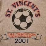 This is the original T-shirt design of the transition year between St. Vincent Invitational and the Menno Classic. The Menno Classic tournament name was coined after a tournament that Goshen College hosted (while Kendal Bauman was a collegiate player at GC) with the three Mennonite colleges; Goshen College, Hesston College and Eastern Mennonite University (then College).