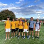 Boys varsity soccer post tournament. Logan Weaver '24, Alex Cline '25, Coach Ryan Eshleman-Robles '10, Schuyler Harmison '22, Eli Stoll '22, Ryan Shank '24, Joseph Yutzy '25