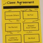 Fifth grade classroom agreement, which they reviewed together with the school-wide peace pledge, 2021