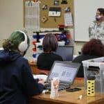 Kevin Carini teaching Robotics II class