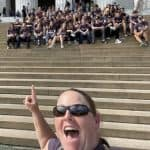 Jennifer Young takes a selfie with the group on the Lincoln Memorial steps, Senior Trip 2021.