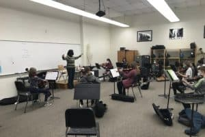 strings classroom renovation for music instruction with Maria Lorcas.