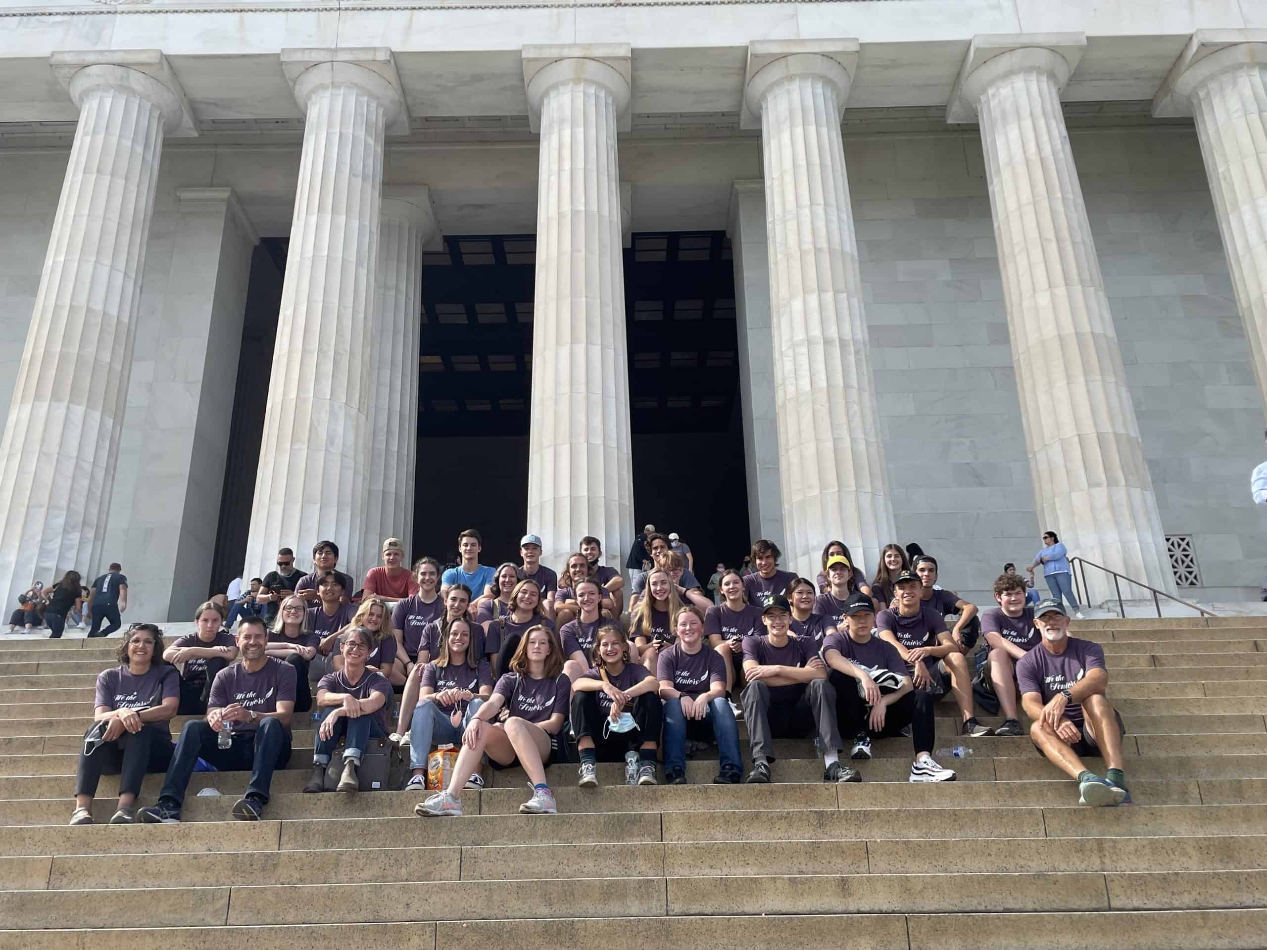 Class of '22 at the Lincoln Memorial. Photo by Jennifer Young